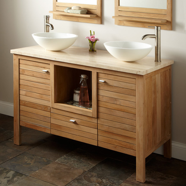 Luxurious Bowl Sinks and Stainless Steel Faucet To Decorate Wooden Vanity