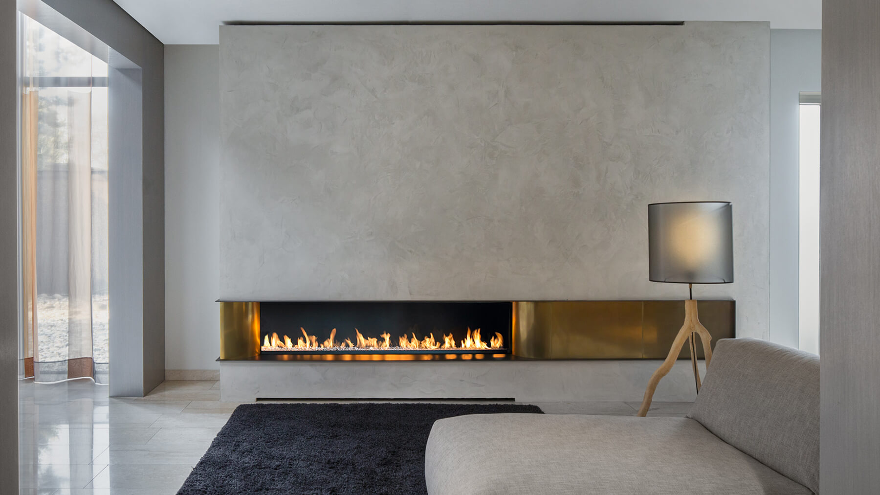 Marvelous Deisgn Of The Living Room With Blak Rugs And Grey Wall Added With Modern Gas Fireplace