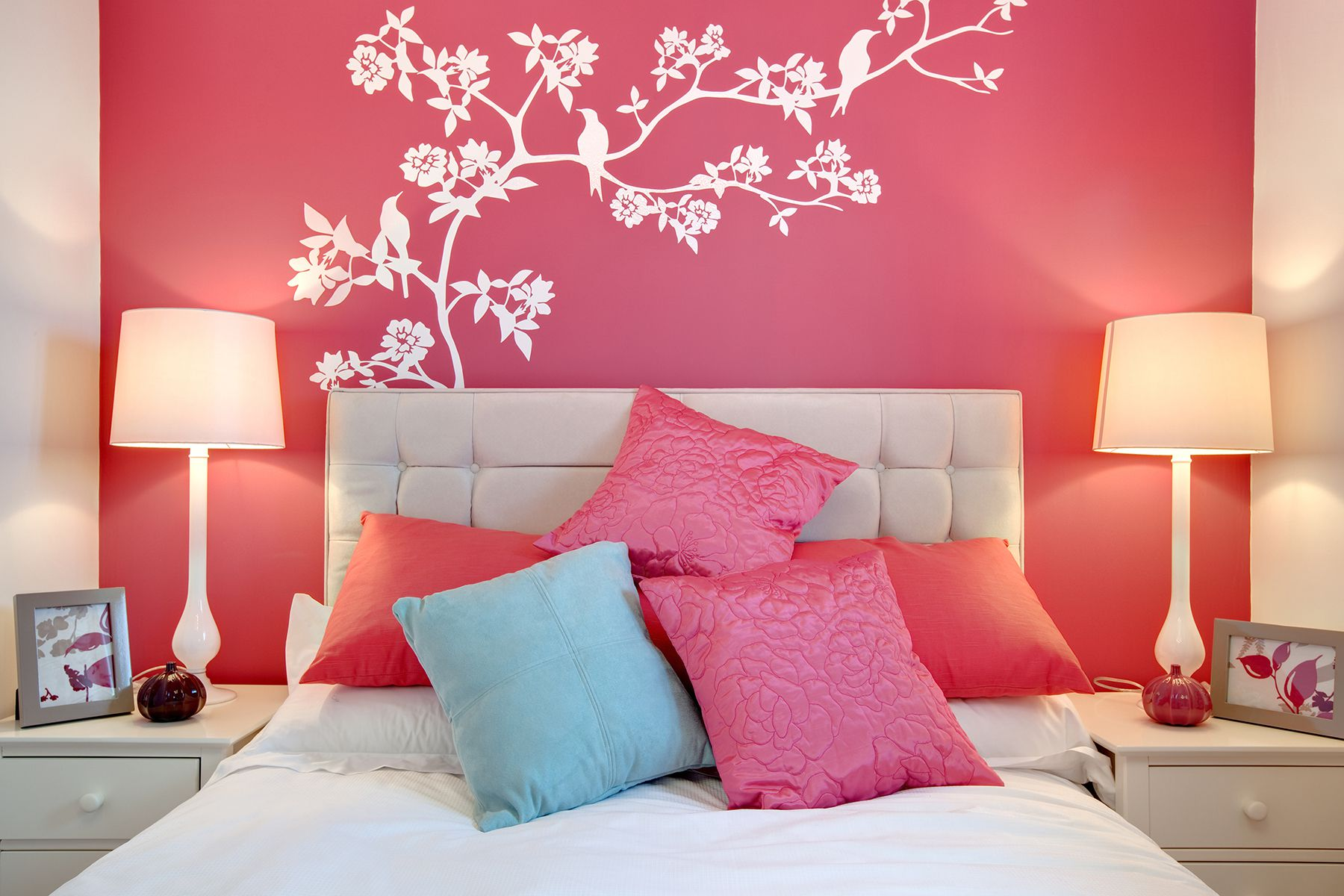 Marvelous Design Of The Bedroom Aras With Pink Wall Added With Paint On The Wall Ideas With Two Table Lamp Ideas
