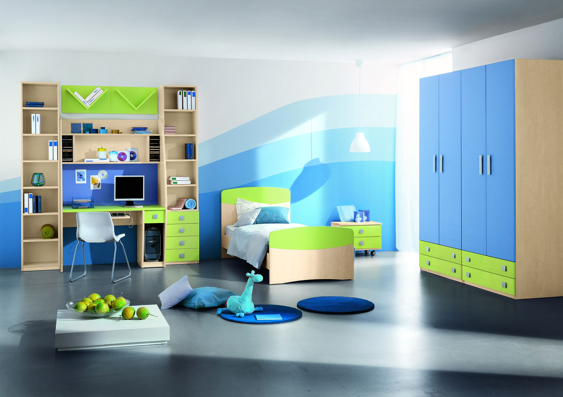 Bon Marvelous Design Of The Bedroom Kids Areas Added With Blue Wardrobe With  Black Tile Floor Ideas