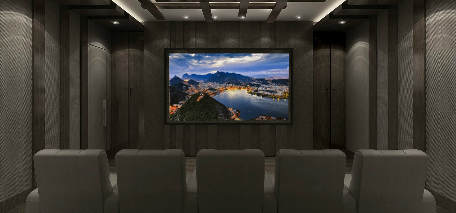 Marvelous Design Of The Black And Grey Wall Ideas With Big Screen Ideas Of Home Theater Design