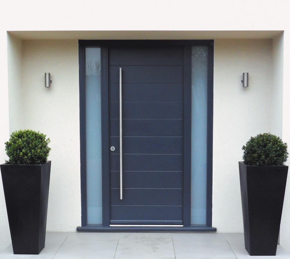 Marvelous Design Of The Black Wooden Front Door Ideas With White Wall Added With Black Pots Ideas