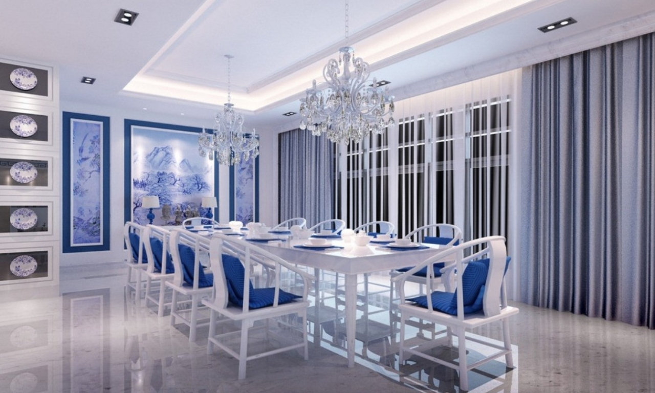 Marvelous Design Of The Blue Dining Room With White Ceiling Ideas Added With Long Blue And White Dining Set Ideas