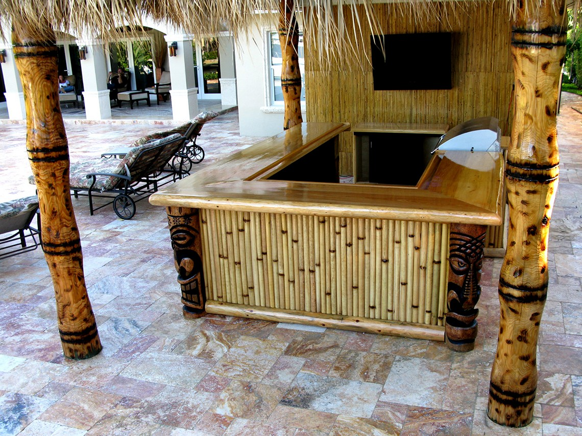 Marvelous Design Of The Brown Bamboo Materials Of The Bar Outdoor Ideas  With Tv On The