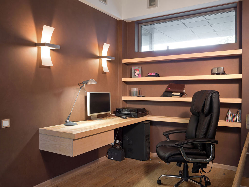 Marvelous Design Of The Brown Desk And Floating Shelves As The Part Of Home Office Design
