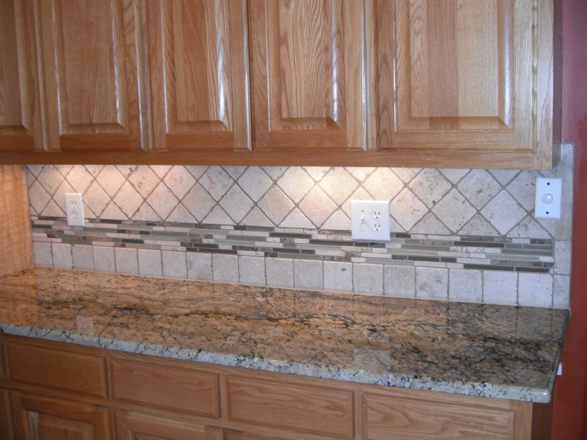 Marvelous Design Of The Brown Wooden Cabinets And Grey Marble Tops Ideas Added With Grey Tile Backsplash Ideas