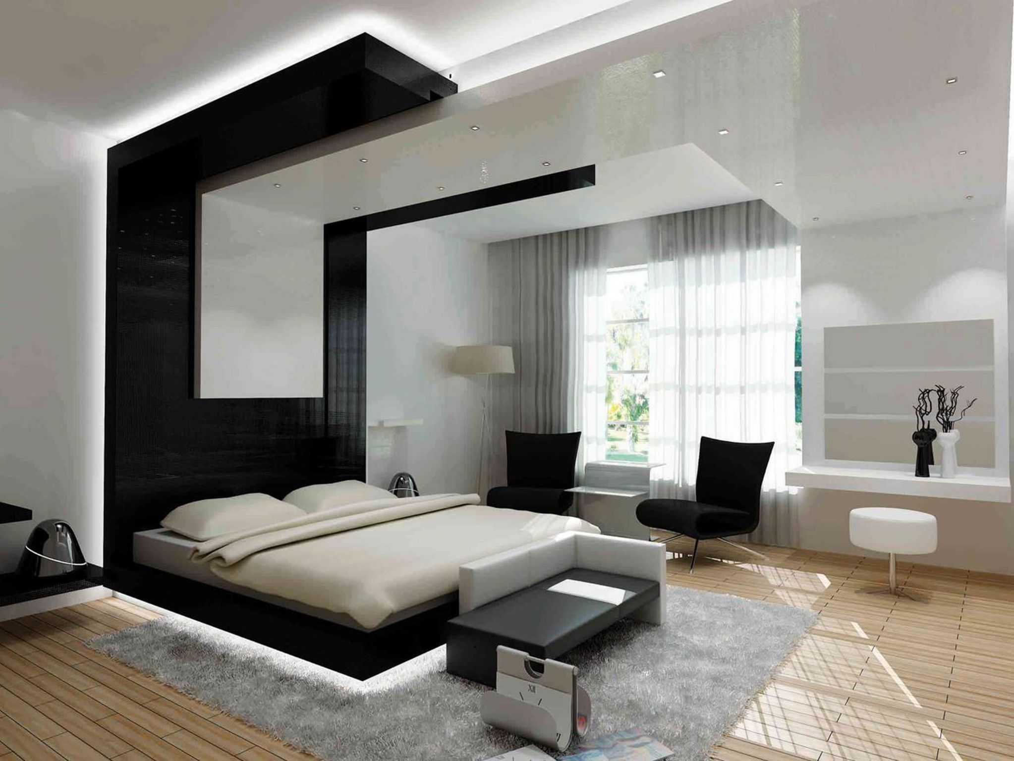 Marvelous Design Of The Brown Wooden Floor Added With Wall Mounted Lamp With White Ceiling As The Bedroom Modern Ideas