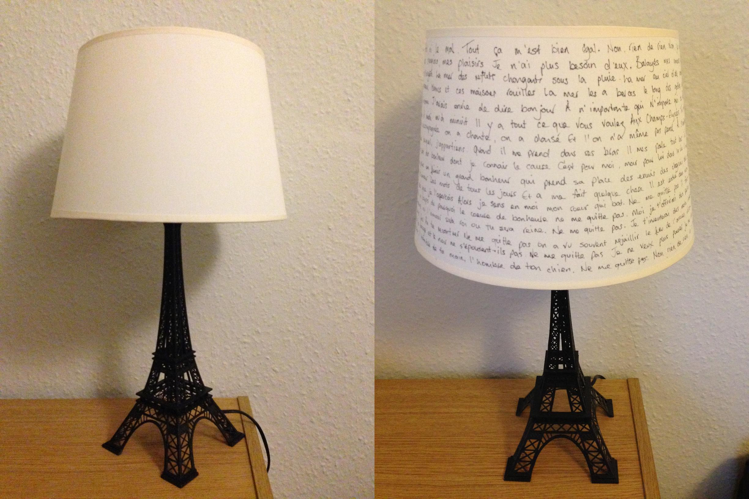 Marvelous Design Of The Brown Wooden Table Addd With White Lamp Shade Added With Eiffel Tower Lamp Ideas
