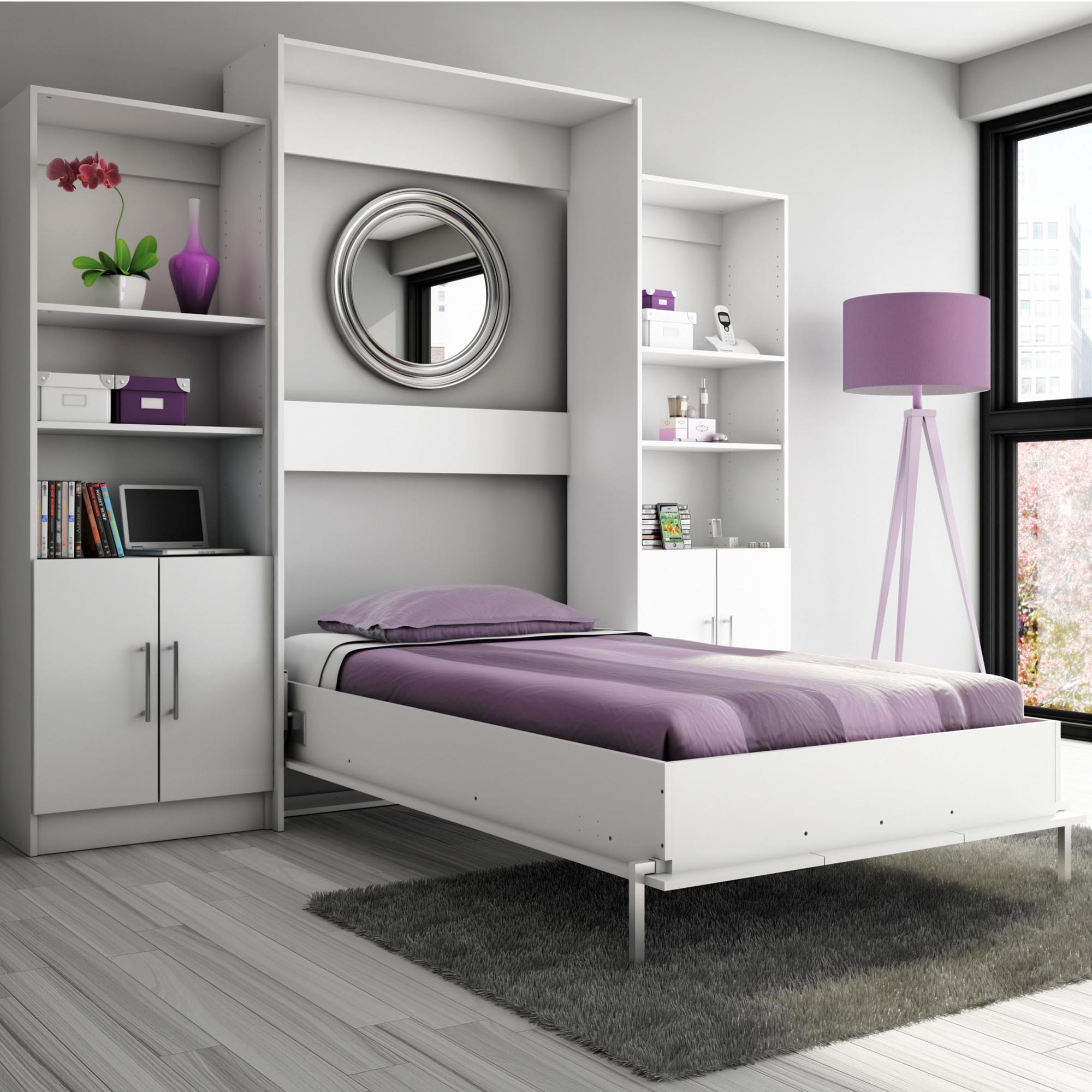 Marvelous Design Of The Grey Wooden Floor Ideas Added With Grey Wall And Purple Modern Murphy Bed Ideas