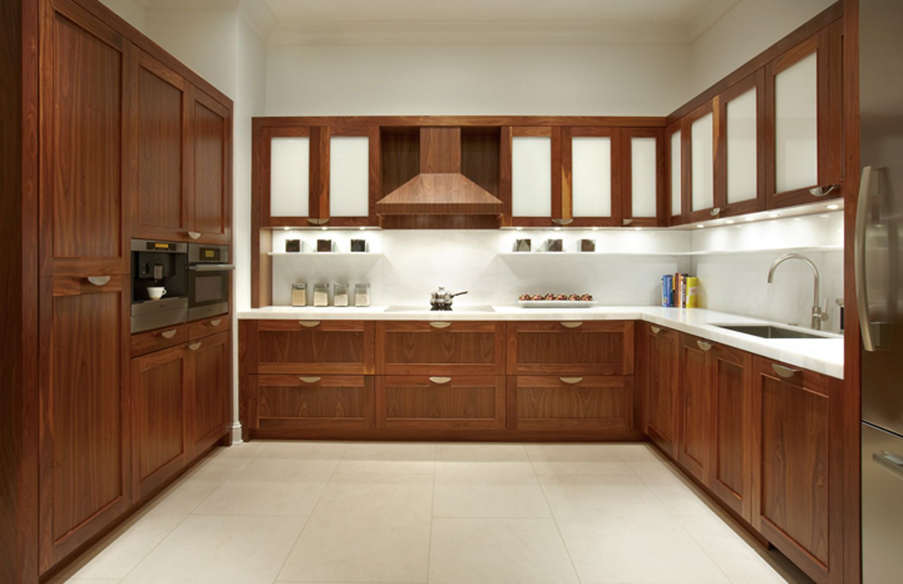 Marvelous Design Of The U Shape Kitchen Areas With Brown Cabinets Kitchen Design With White Marble Tops