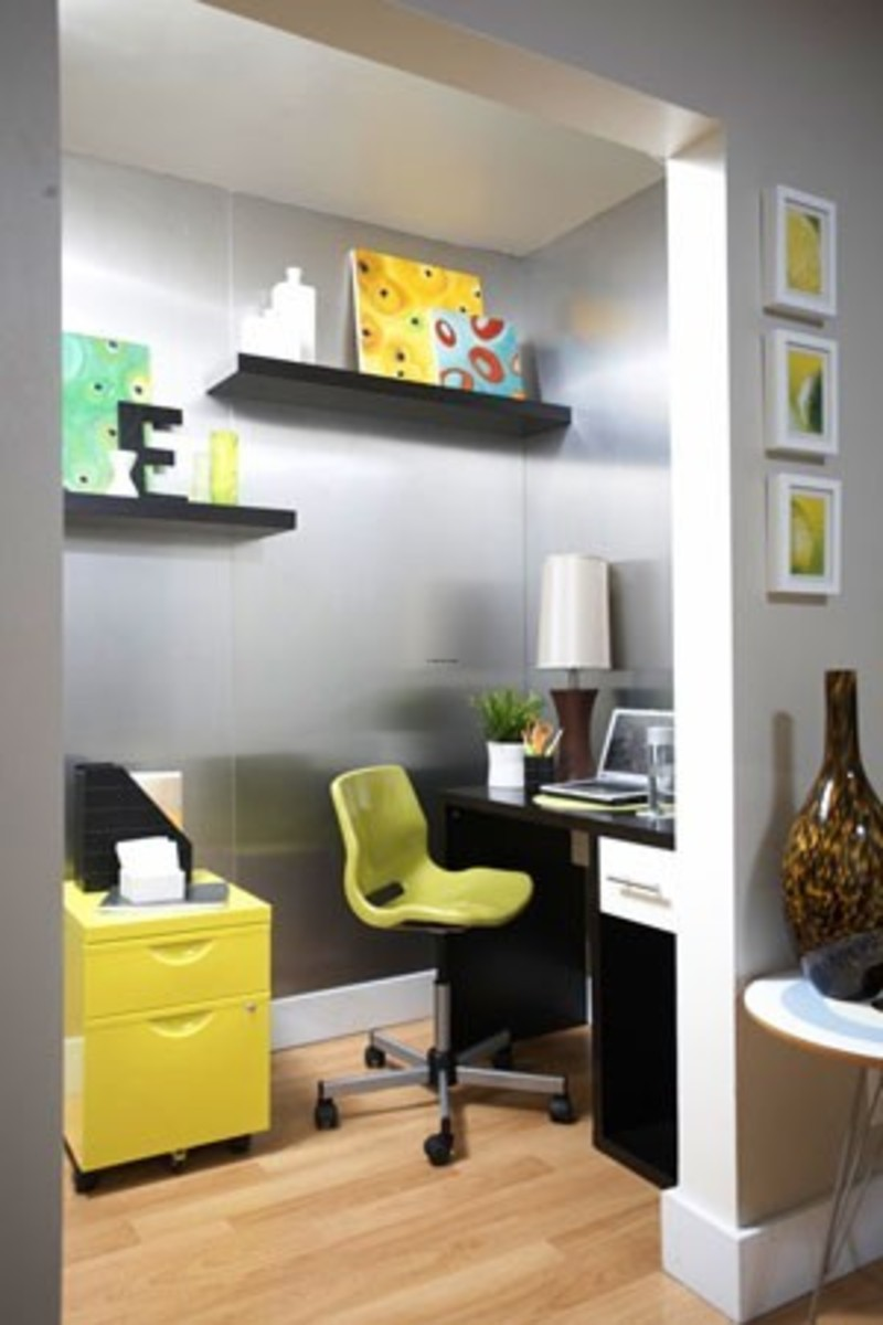 Marvelous Grey Wall Ideas With Brown Wooden Floor Added With Yellow Side  Table And Black Wooden