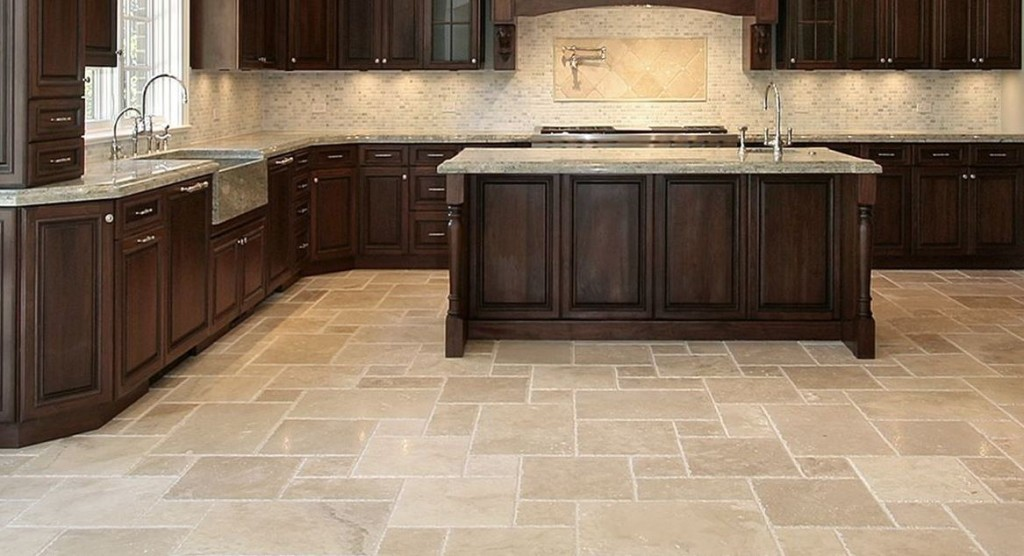 Marvelous Kitchen Decor Using Chic Floor Tile Also Wooden Cabinet