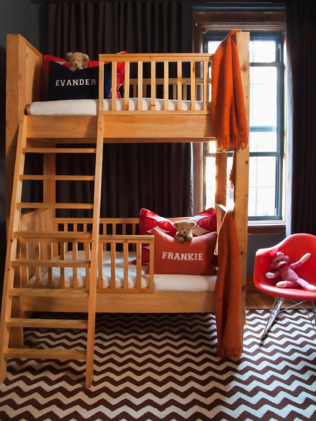 Minimalist Design of Wooden Childrens Bunk Beds beside Red Chair