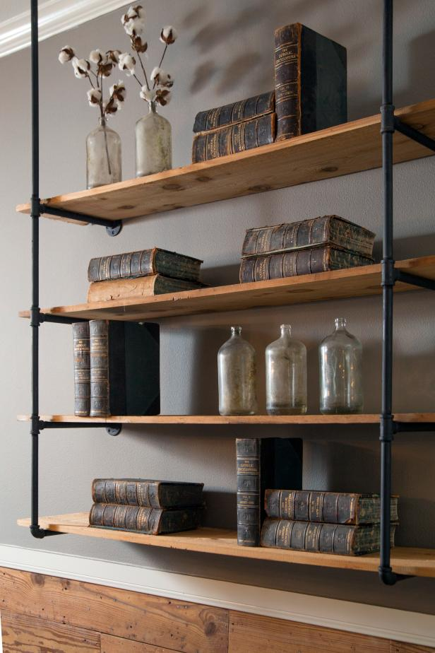 Minimalist Floating Corner Shelf Design Using Wooden And Iron Frames