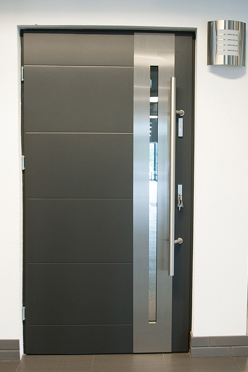 Modern Design Of The Front Door Ideas With Silver And Grey Color Ideas With White Wall Ideas