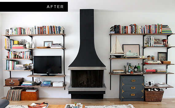Modern Room With Simple Fireplace Using Neat Wall Mounted Shelving