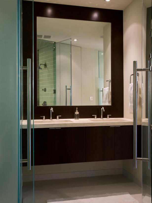 Perfect Interior Using Contemporary Bathroom Vanities also Large Mirror Decor