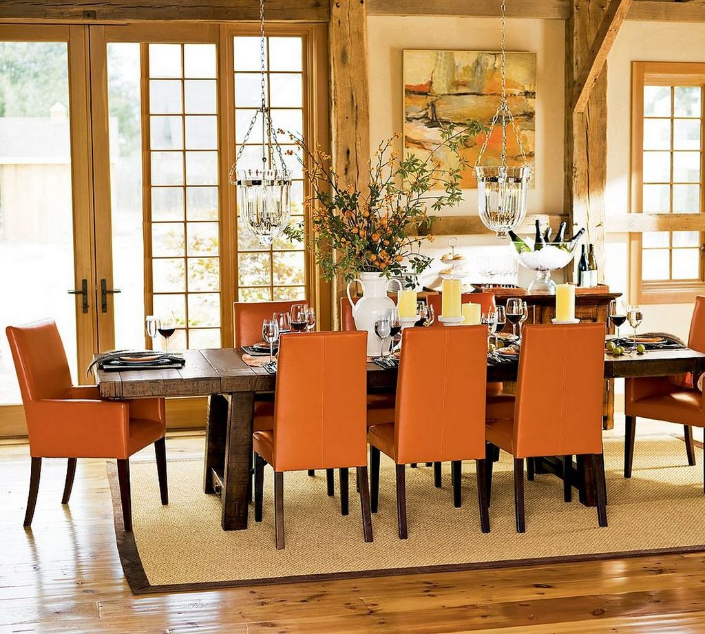 Place Brown Leather Chairs Around Long Wooden Table For Rustic Dining Room  Decorating Ideas With Classic
