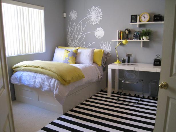 Pleasant Bedroom With Yellow Pillows and Blanket also Stripe Carpet