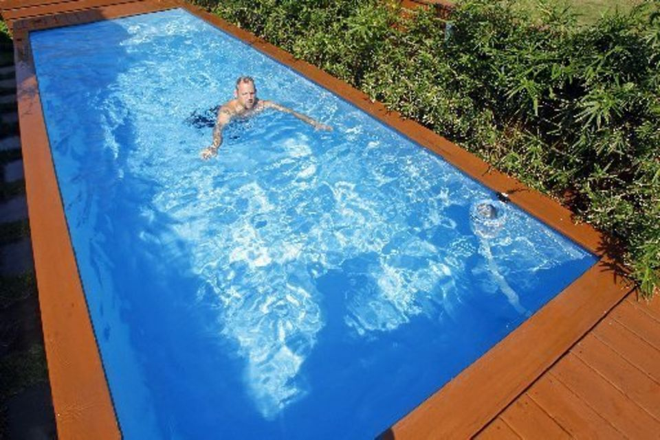 Pleasant Style of Swimming Pool plus Brown Deck Floor Decor