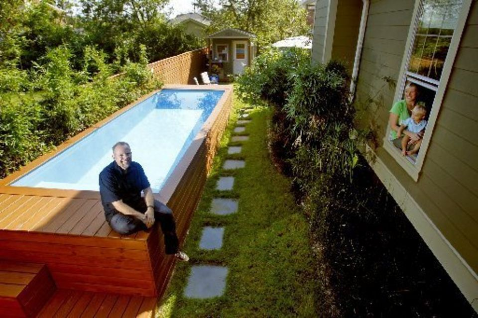 Pleasing Backyard also Container Pool Plus Various Plants