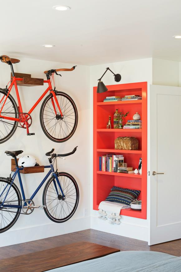 Radiant Wooden Mounted Shelve For Bike Storage Near Book Shelve