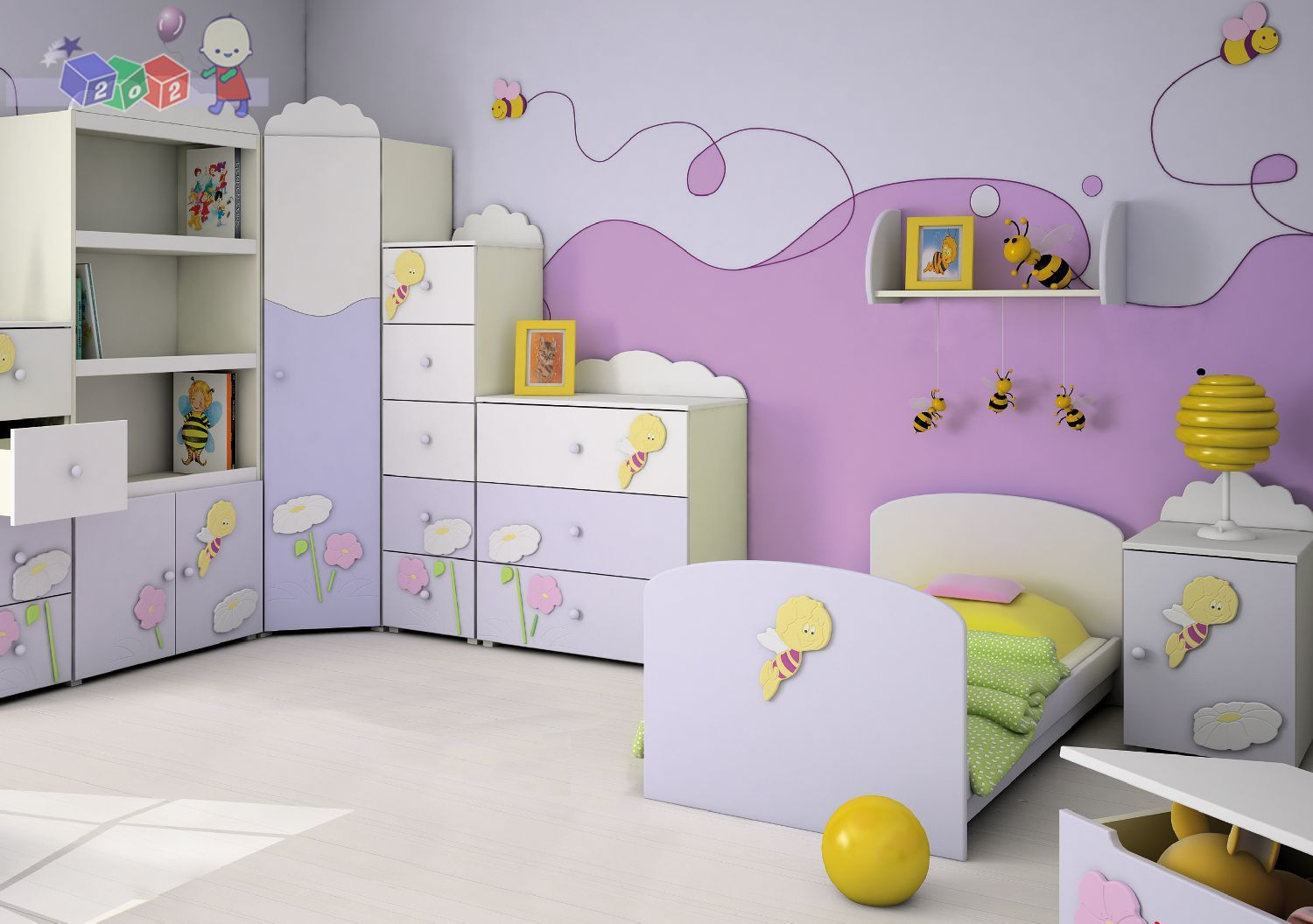 Merveilleux Remarkable Design For Bedroom For Kid Ideas With Marvelous Purple Wall  Added With Blue Wooden Bed