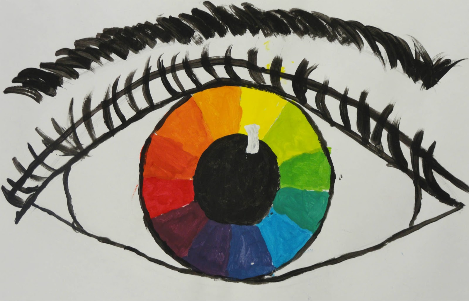 Remarkable Design Of The Color Wheel Ideas With Eye Paint Ideas With Colorful Pupil Ideas On The White Paper Ideas