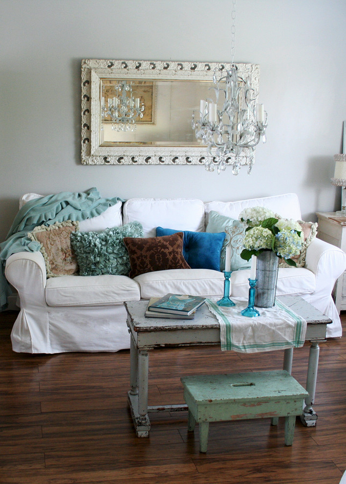 Rustic Coffee Table and Stool also White Sofa For Living Room Decor