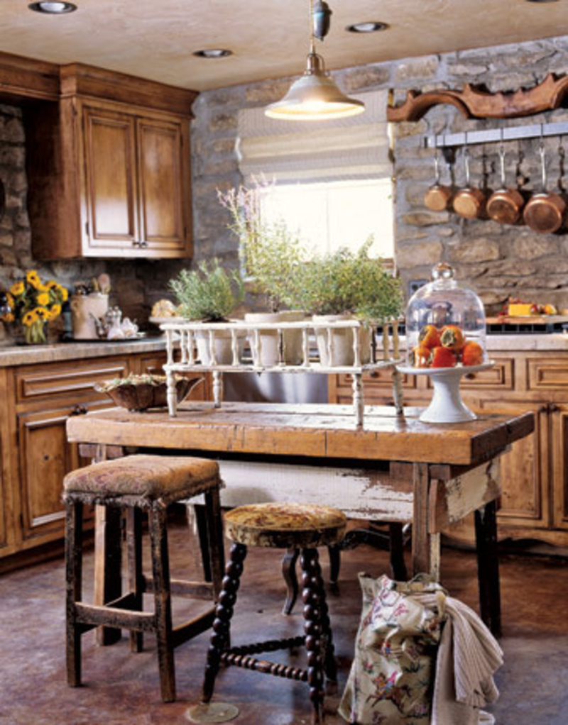 Rustic Kitchen Decor Using Stone Wall Decor and Wooden Furniture