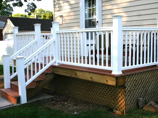 Genial Seductive Deck Design With Nice Ladder And Wooden Floor Plus Fence