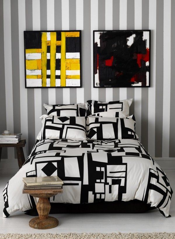Seductive Wall Art Also Stripe Background Plus Modern Bedding Set