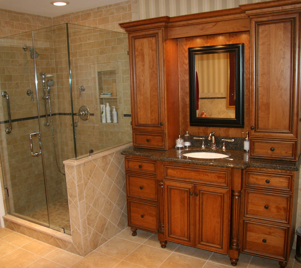 Seductive Wooden Cupboard also Modern Showering Area For Small Bathroom Remodels