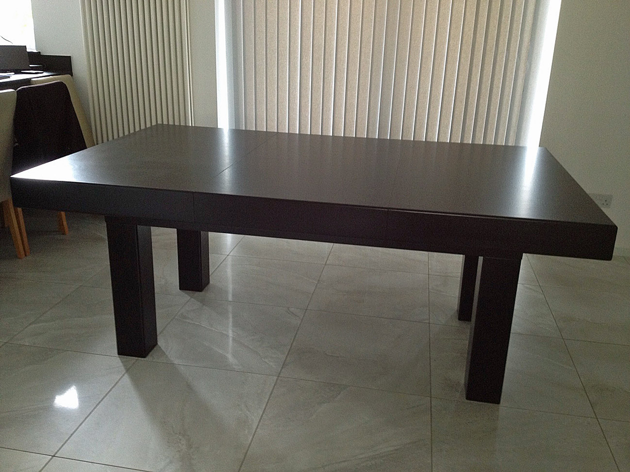 Simple Design Of The Pool Dining Table With Black Oak Wooden Color Ideas Added With White Tile Floor Ideas