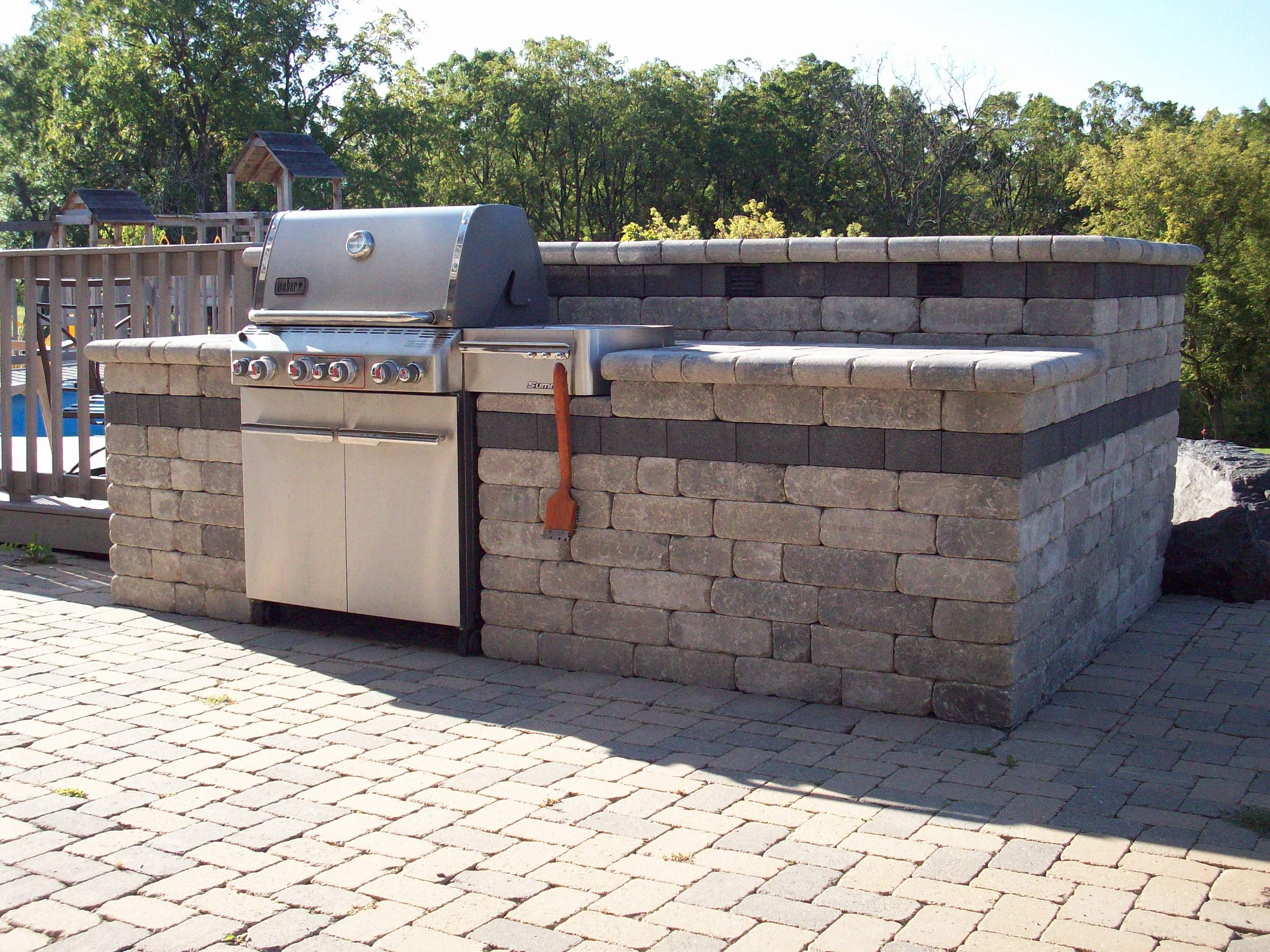 Simple Design for Great Counter with Best Stone Element in Backyard Landscape Ideas