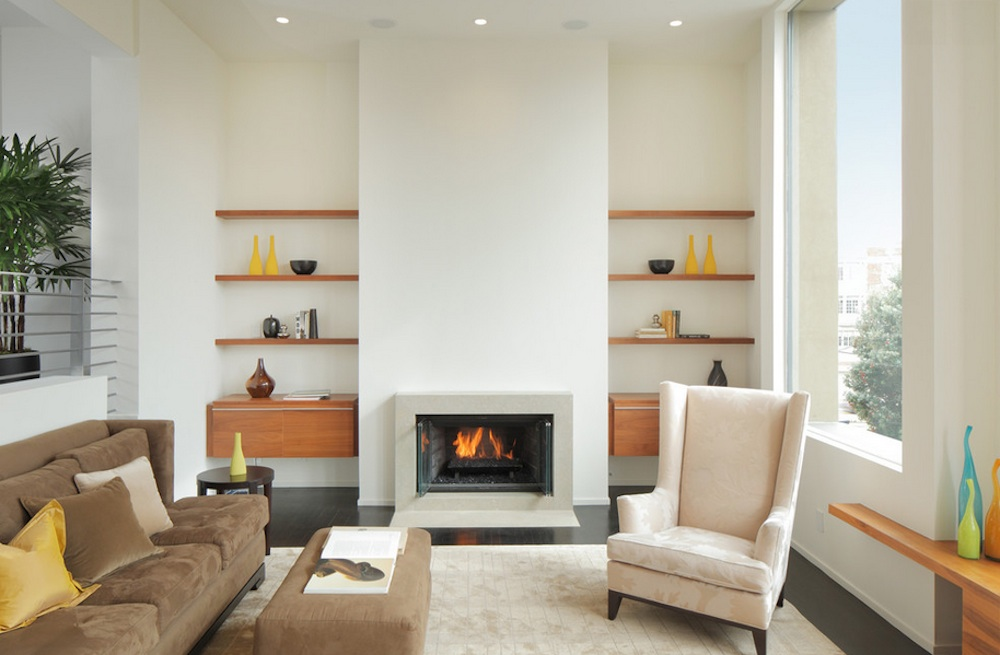 Simple Fireplace also Wooden Floating Corner Shelf For Living Space