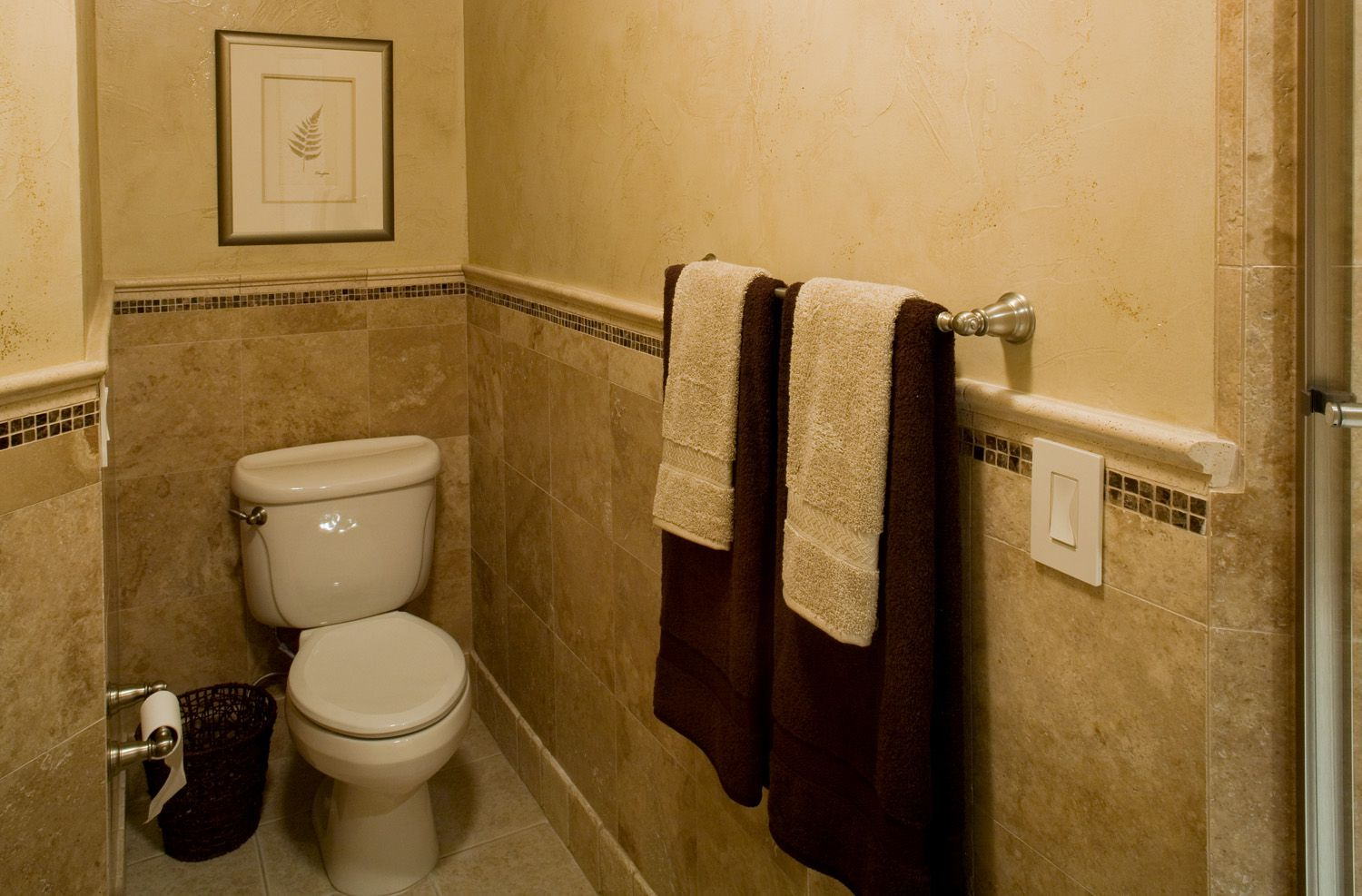 Small Basement Bathroom Ideas Using Stainless Steel Towel Hook and Toilet