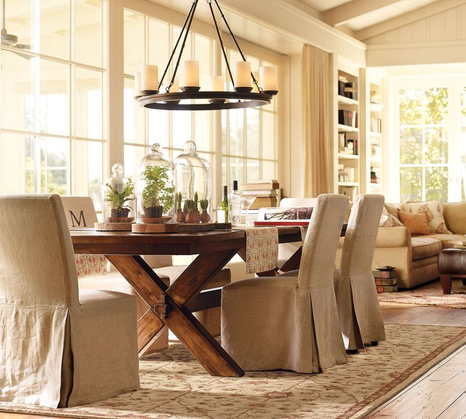 Splendid Design Of The Dining Room Centerpieces With Brown Wooden Table With X Legs Added With Grey Fabric Chairs Ideas