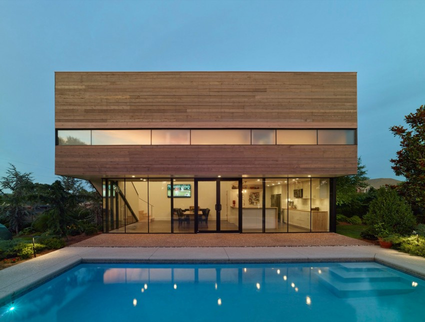 Splendid Exterior House Using Visible Glass Window also Shipping Container Pool