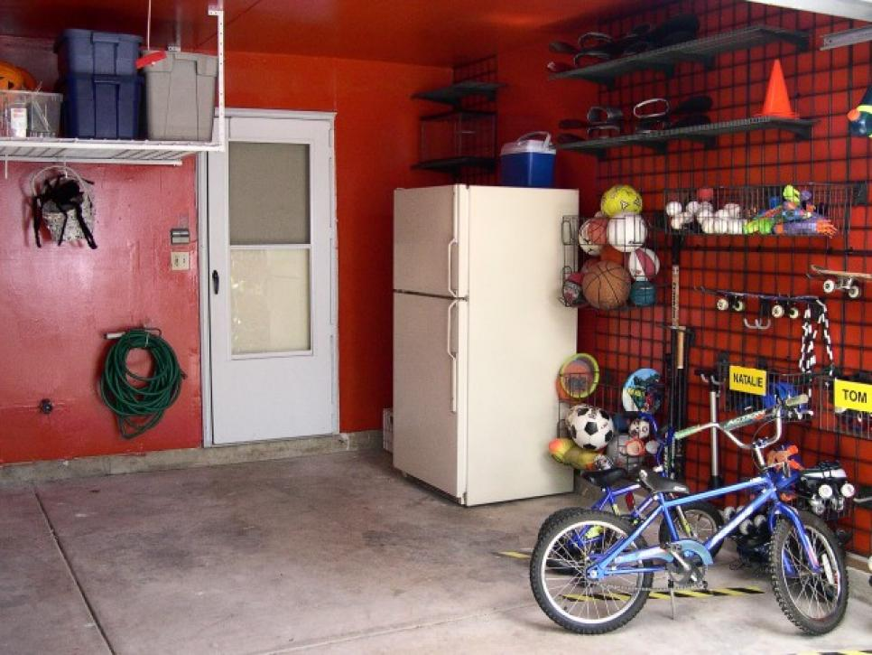 Splendid Style of Garage Bike Storage With Maroon Wall Paint Color Plus Refrigerator