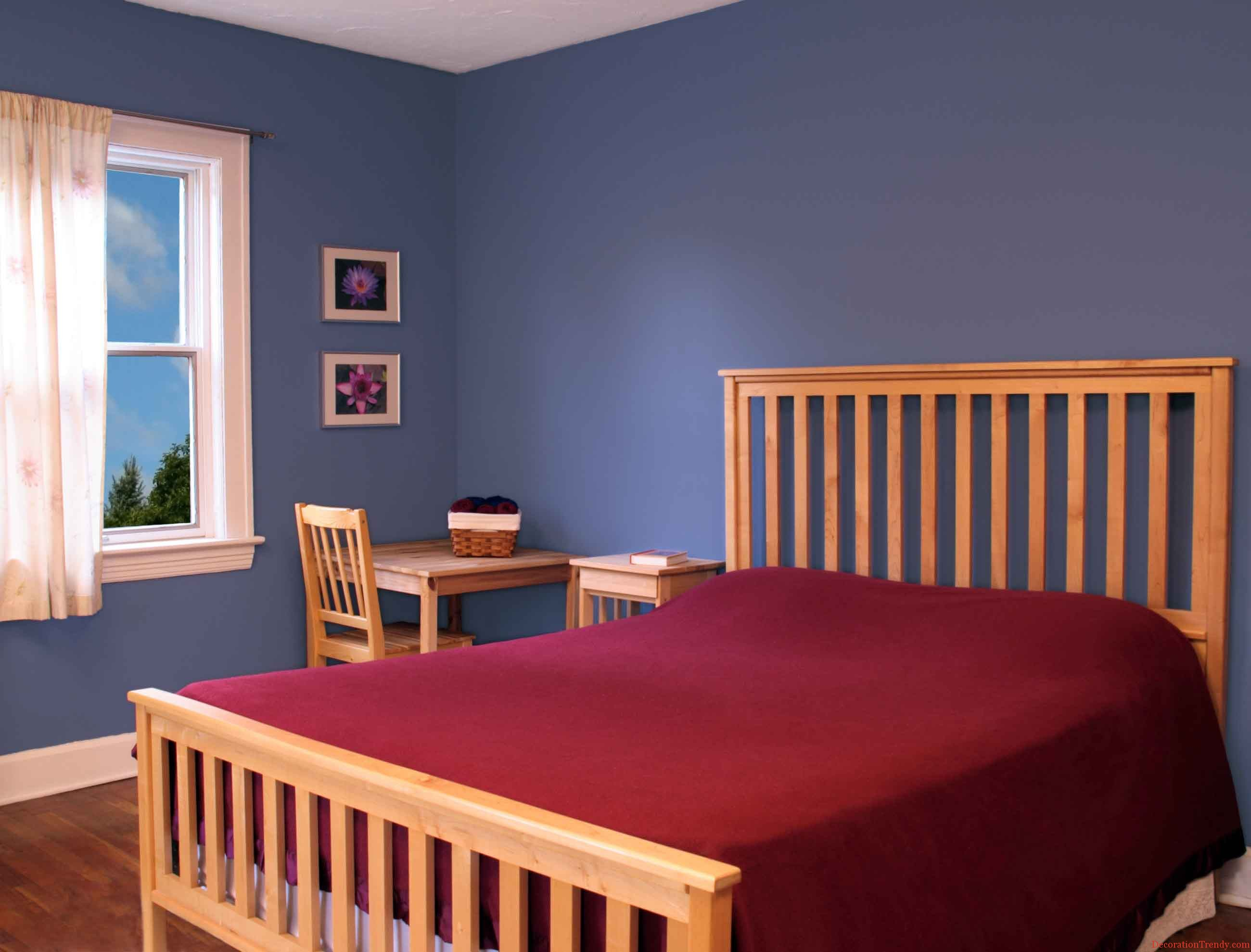 Stunning Design Of Blue Wall Color Ideas With Brown Wooden Bed And Red Bed Cover Ideas