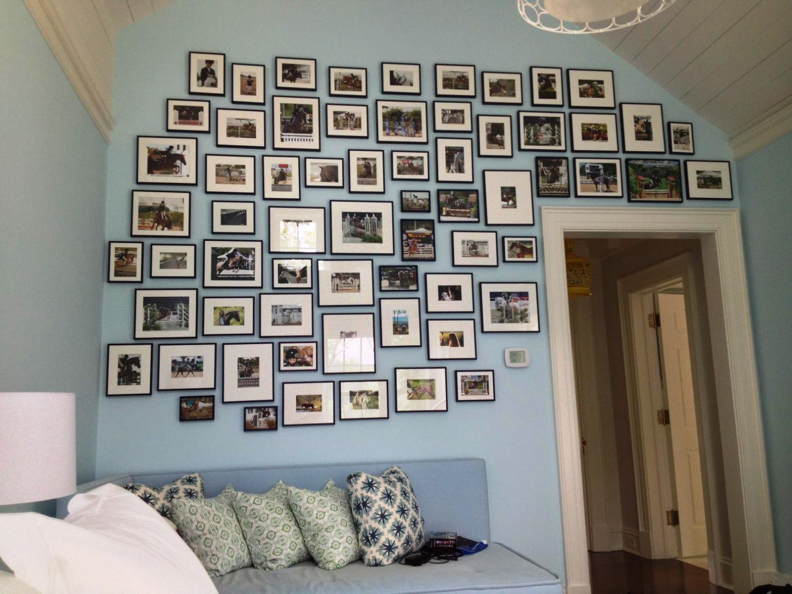 Stunning Design Of The Bedroom Areas With Blue Wall Added With Many Pics As The Photo Wall Ideas With White Bed Ideas