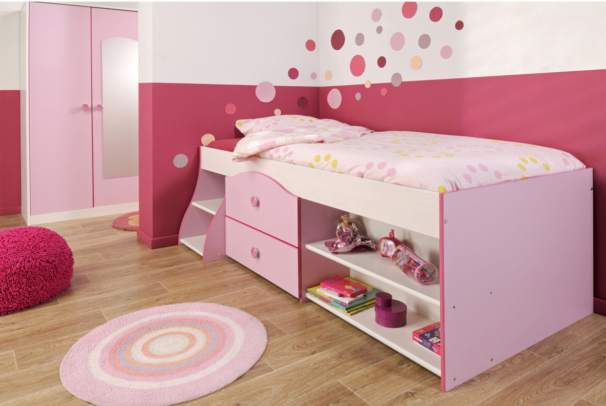 Stunning Design Of The Bedroom Kids Areas With Pink Bed With Storage Added  With Brown Wooden