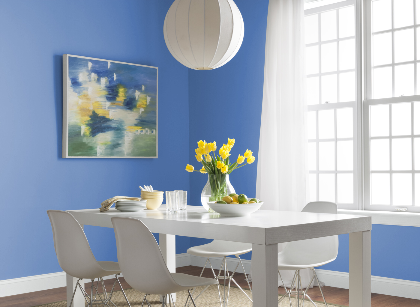 Stunning Design Of The Blue Dining Room With Blue Wall Ideas Added With White Wooden Windows And White Wooden Dining Set Ideas
