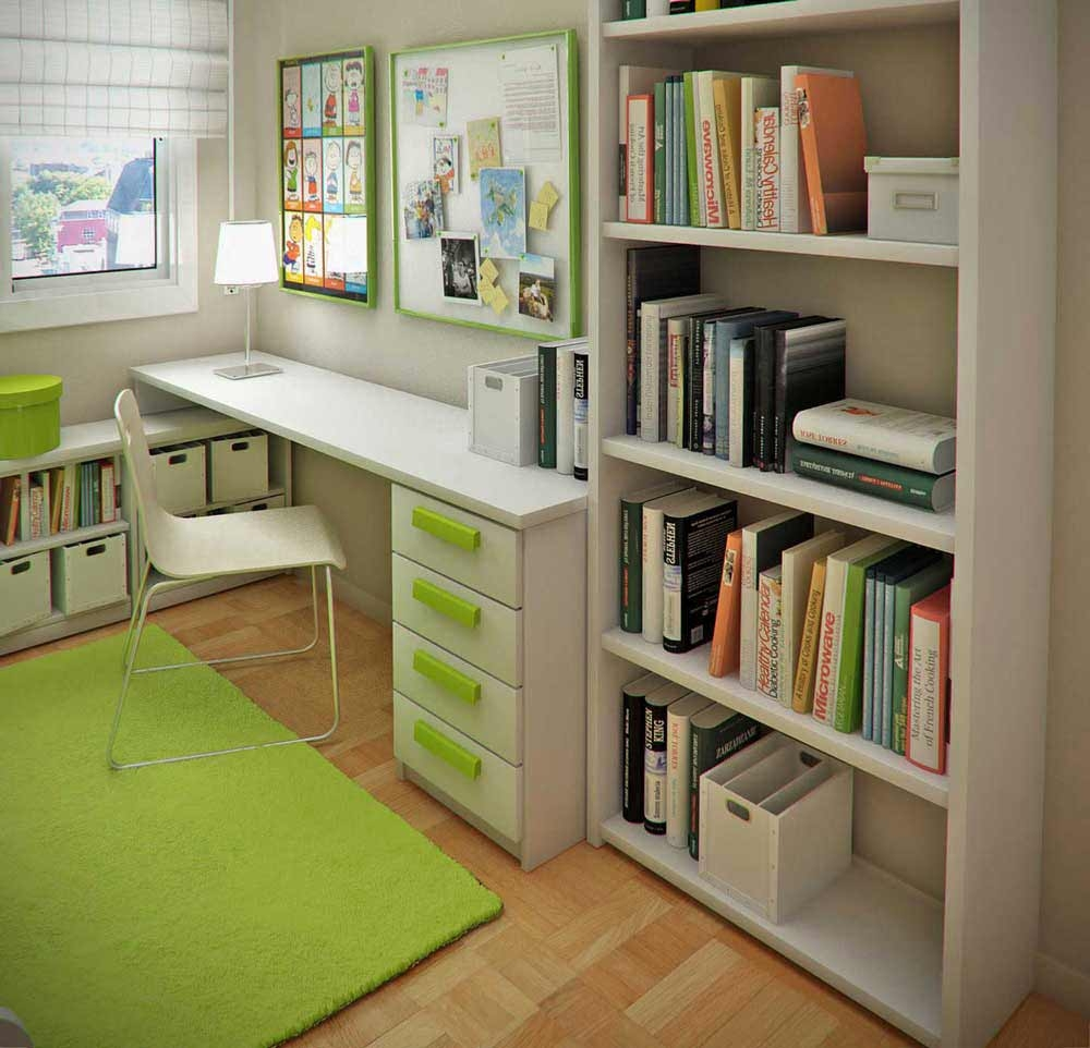 stunning design of the brown wooden floor added with green rugs and green drawers on white simple office in the corner - Office Design Ideas For Small Office