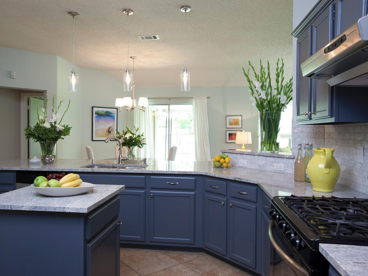 Stunning Design Of The Grey Marble Tops Ideas With Kitchen Island And Blue Kitchen Cabinets
