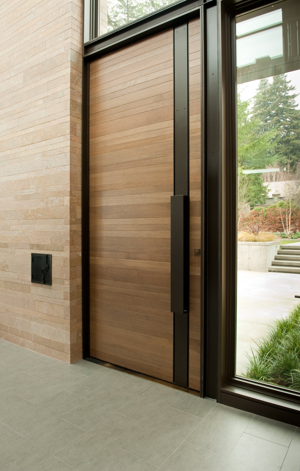 Stunning Design Of The Grey Tile Added With Wooden Front Door Ideas With Glass Windows
