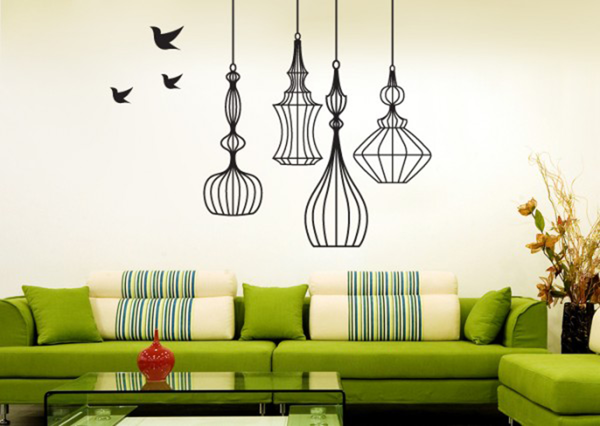 Stunning Design Of The Living Room Aeras With Green L Shape Sofa Ideas With Hanging Lamp And Simple Wall Paint Ideas