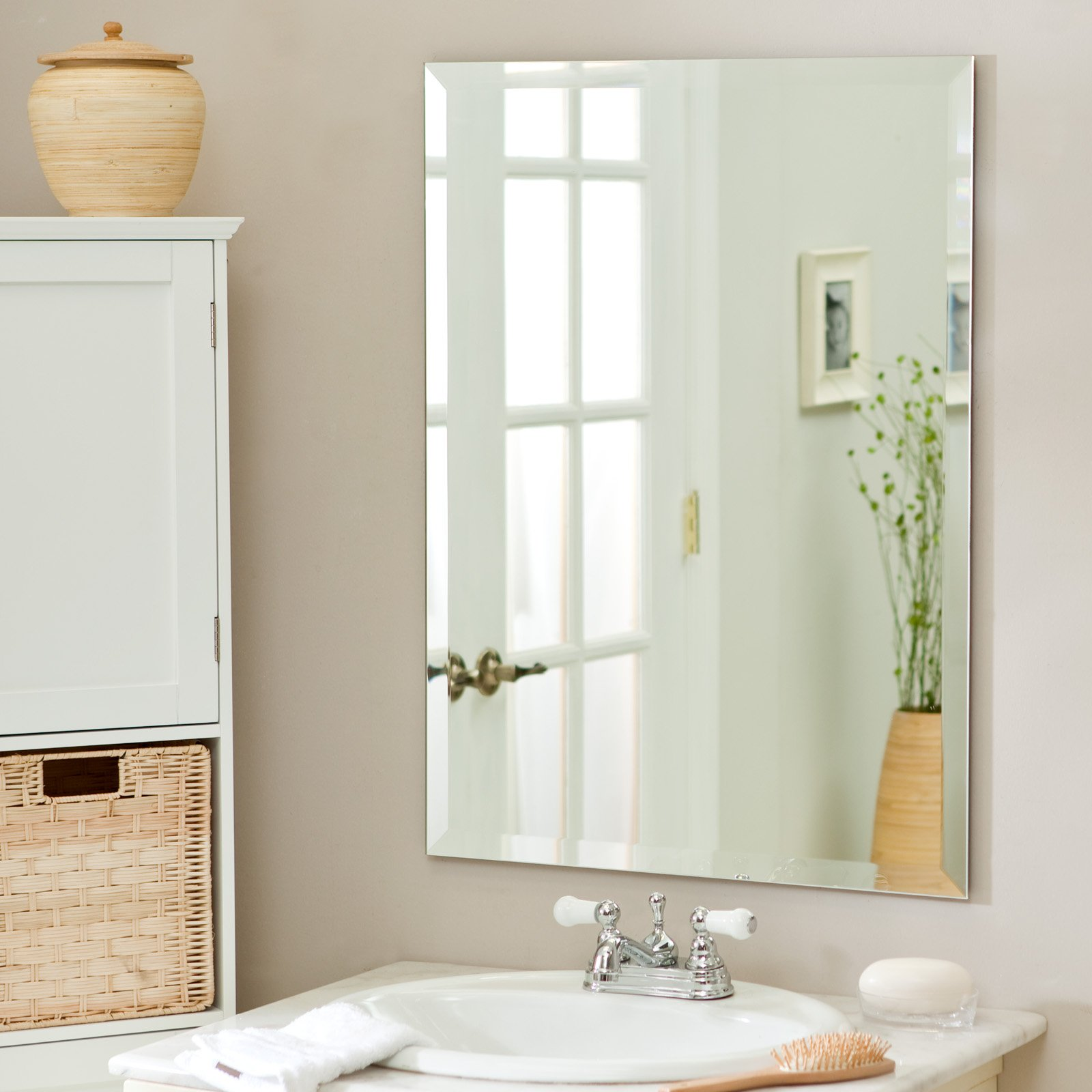 Stunning Design Of The White Sink And Beige Wall Ideas With Frameless  Bathroom Mirror Ideas