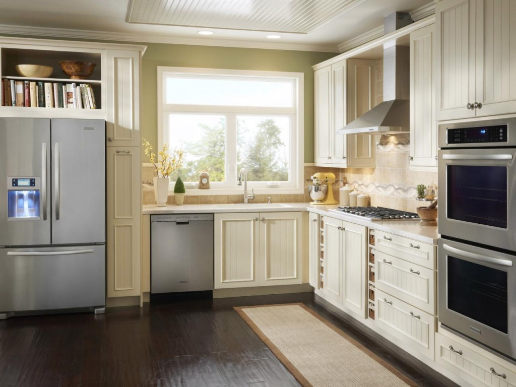 Stunning Kitchen With Cabinet also Refrigerator plus Microwave and Stove